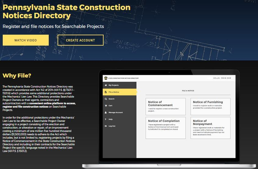 State Construction Notices Directory